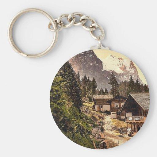 Rosenlaui, with sawmill, Bernese Oberland, Switzer Basic Round Button Keychain