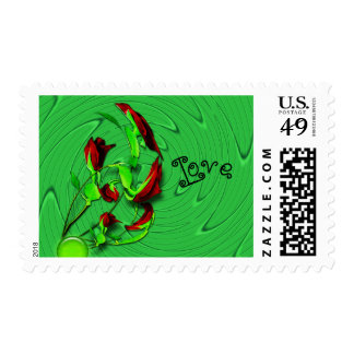 Roses abstract love postage