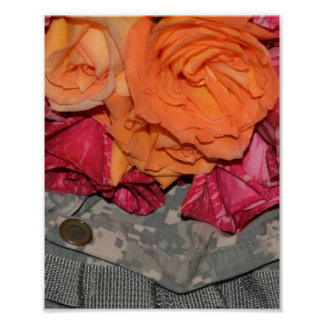 Roses Acu Military Uniform Troops Camouflage Poster