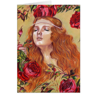 Roses Among Thorns Floral Girl  Fantasy Art Card