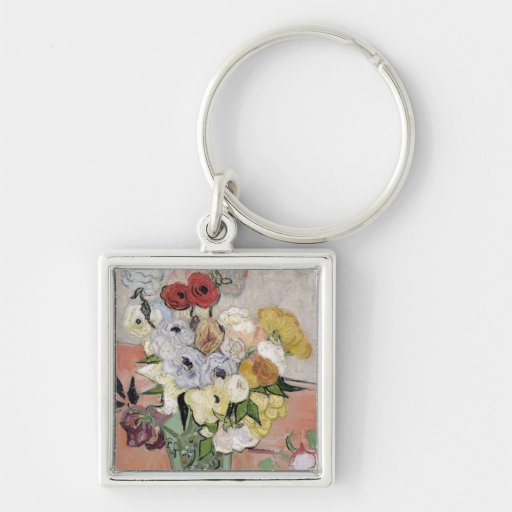 Roses and Anemones, 1890 Key Chain