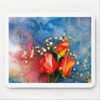 Roses and Baby Breath Mouse Pad