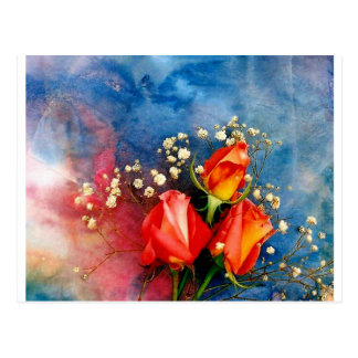 Roses and Baby Breath Postcard
