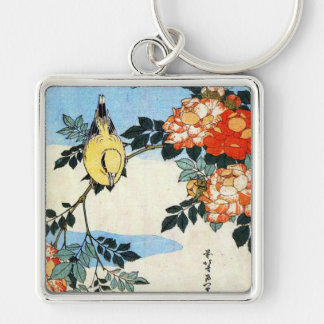 Roses and Bird, Hokusai Silver-Colored Square Keychain