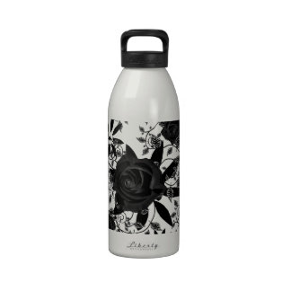 Roses and birds in black and white drinking bottles