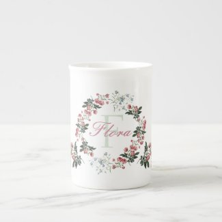 Roses and Bluebells Personalized Bone China Mug