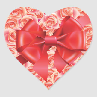 Roses and Bow Heart Sticker