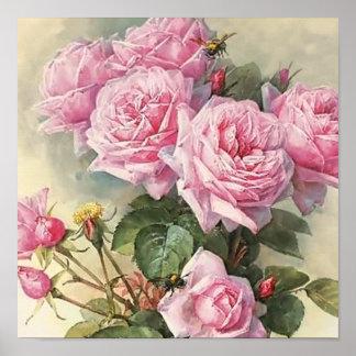 Roses and Bumblebees Paul de Longpre Fine Art Poster