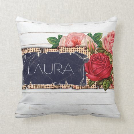 Roses and Burlap Country Chic White Wood Throw Pillow