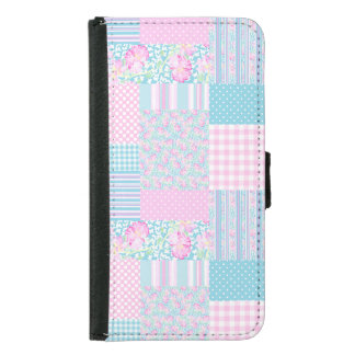 Roses and Butterflies Faux Patchwork Wallet Case