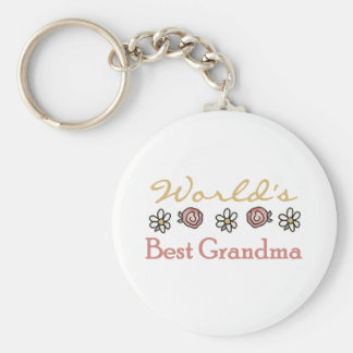 Roses and Daisies World's Best Grandma  Basic Round Button Keychain