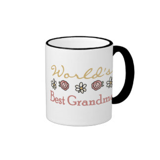 Roses and Daisies World's Best Grandma  Ringer Mug