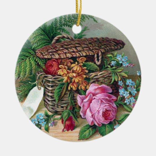 Roses and Ferns in Basket Vintage Victorian Ceramic Ornament