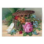 Roses and Ferns in Basket Vintage Victorian Greeting Card
