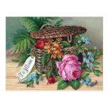 Roses and Ferns in Basket Vintage Victorian Postcards