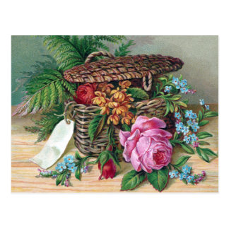 Roses and Ferns in Basket Vintage Victorian Post Card