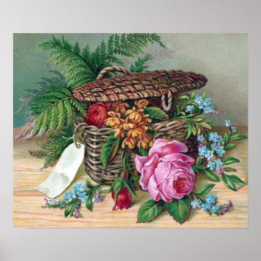 Roses and Ferns in Basket Vintage Victorian Poster