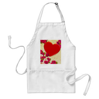 Roses and Heart Frame Add Your Photo Adult Apron