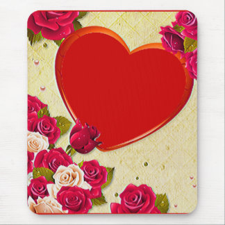 Roses and Heart Frame Add Your Photo Mouse Pad