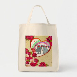 Roses and Heart Frame Add Your Photo Tote Bag