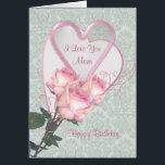 """Roses and hearts -  Birthday card for Mom<br><div class=""""desc"""">Birthday card for Mom with two heart shapes and three roses. You can change text in front and inside,  put your own words</div>"""