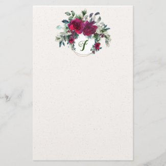 Roses and Holly Elegant Holiday Stationery