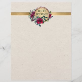 Roses and Holly Fancy Personalized Letterhead
