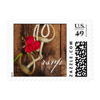 Roses and Horse Bit Country Wedding RSVP Postage