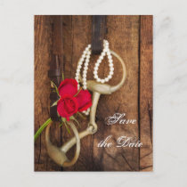 Roses and Horse Bit Country Wedding Save the Date Announcement Postcard
