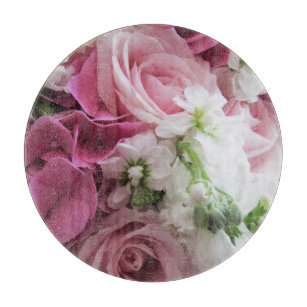 Roses and Hydrangeas Glass Cutting Board