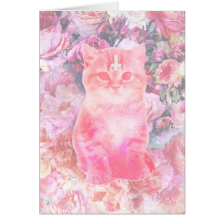 Roses And Inverted Cross Kitten Card
