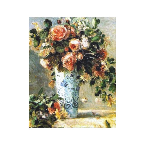 Roses and Jasmine in a Delft Vase Renoir Fine Art Canvas Print