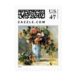 Roses and Jasmine Still Life by Renoir Postage