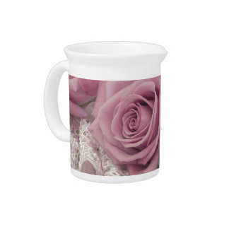 Roses And Lace Still Life Beverage Pitcher