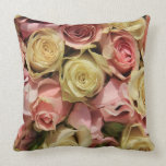 Roses and lathyrus by The Rose Garden Throw Pillow