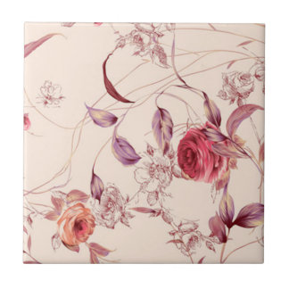 Roses and Leaves Tile