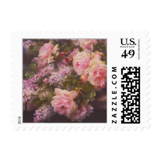 Roses and Lilacs Vintage Flower Painting Postage Stamp
