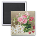 Roses and Lilies 2 Inch Square Magnet