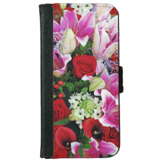 Roses and lilies floral bouquet iphone wallet case iPhone 6 wallet case