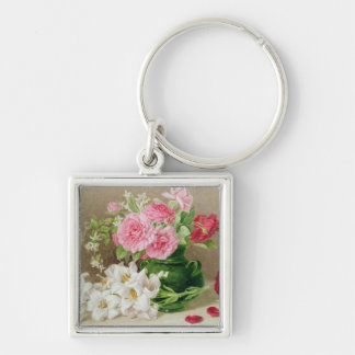 Roses and Lilies Silver-Colored Square Keychain