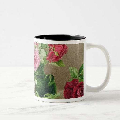 Roses and Lilies Two-Tone Coffee Mug