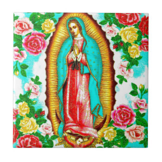 ROSES AND MADONNA OF GUADALUPE ART DESIGN CERAMIC TILE