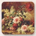 Roses and Mahogany Cork Coaster