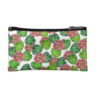 Roses And Monstera Leaf Pattern Cosmetic Bag