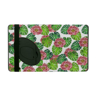 Roses And Monstera Leaf Pattern iPad Folio Case