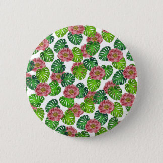 Roses And Monstera Leaf Pattern Pinback Button