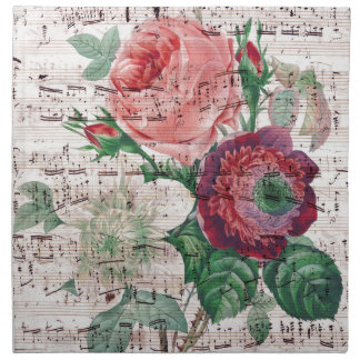 Roses and Music.jpg Printed Napkin