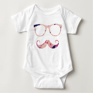 Roses and mustache baby bodysuit