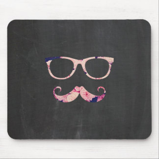 Roses and mustache mouse pad