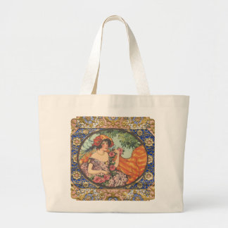 Roses and Peacock Feathers Large Tote Bag